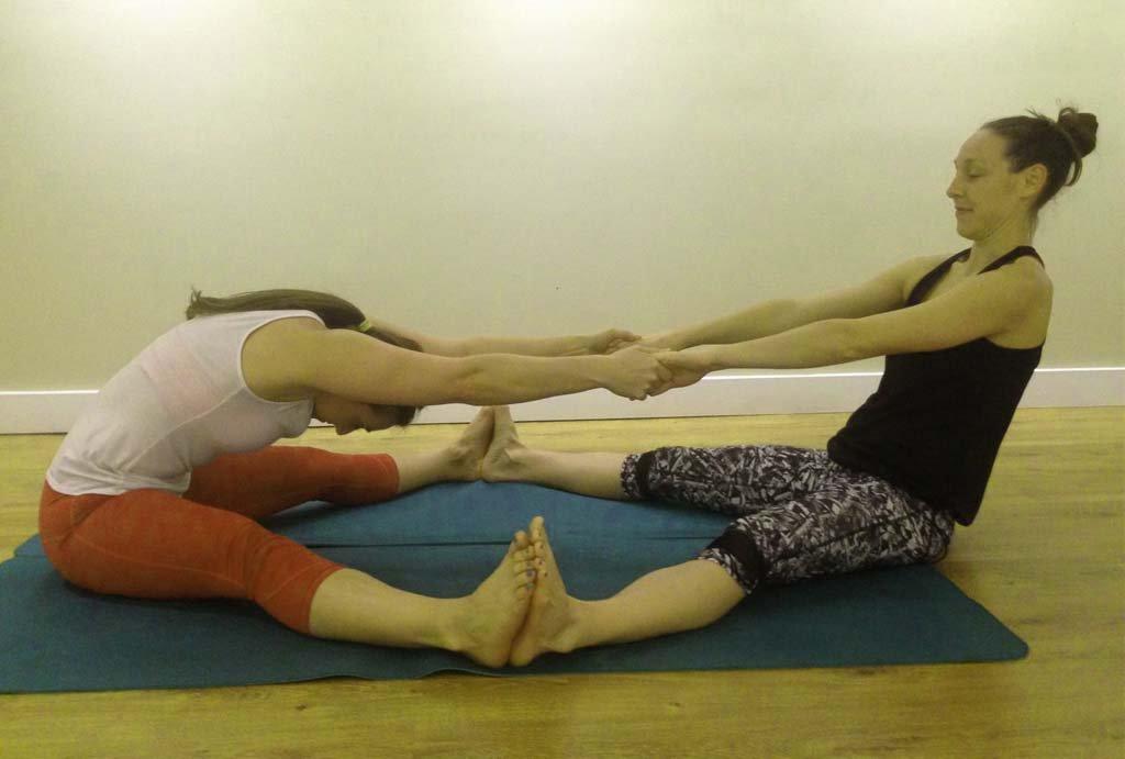 Partner forward fold