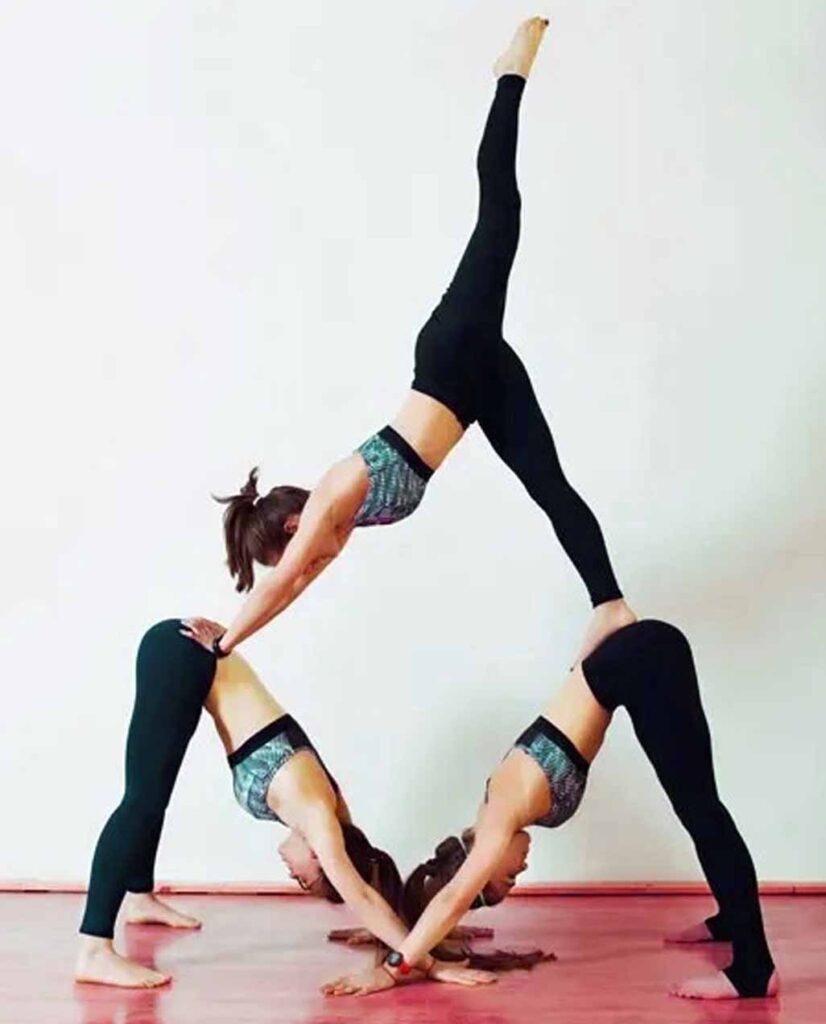 3 Person Downward pyramid pose